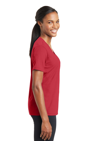 Sport-Tek LST340 Womens RacerMesh Moisture Wicking Short Sleeve V-Neck T-Shirt Red Side