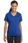 Sport-Tek LST340 Womens RacerMesh Moisture Wicking Short Sleeve V-Neck T-Shirt Royal Blue Front