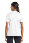 Sport-Tek LST340 Womens RacerMesh Moisture Wicking Short Sleeve V-Neck T-Shirt White Back