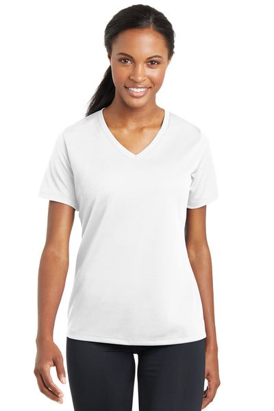 Sport-Tek LST340 Womens RacerMesh Moisture Wicking Short Sleeve V-Neck T-Shirt White Front
