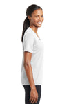 Sport-Tek LST340 Womens RacerMesh Moisture Wicking Short Sleeve V-Neck T-Shirt White Side