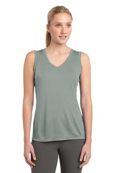 Sport-Tek LST352 Womens Competitor Moisture Wicking Tank Top Silver Grey Front