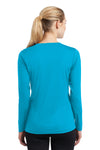 Sport-Tek LST353LS Womens Competitor Moisture Wicking Long Sleeve V-Neck T-Shirt Atomic Blue Back