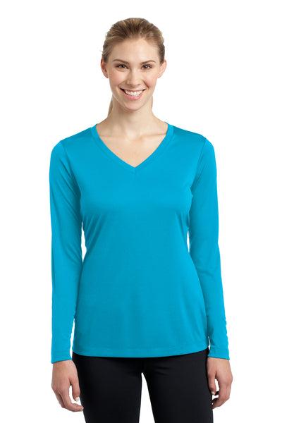Sport-Tek LST353LS Womens Competitor Moisture Wicking Long Sleeve V-Neck T-Shirt Atomic Blue Front