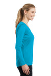 Sport-Tek LST353LS Womens Competitor Moisture Wicking Long Sleeve V-Neck T-Shirt Atomic Blue Side