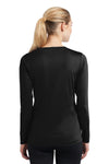 Sport-Tek LST353LS Womens Competitor Moisture Wicking Long Sleeve V-Neck T-Shirt Black Back