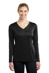 Sport-Tek LST353LS Womens Competitor Moisture Wicking Long Sleeve V-Neck T-Shirt Black Front