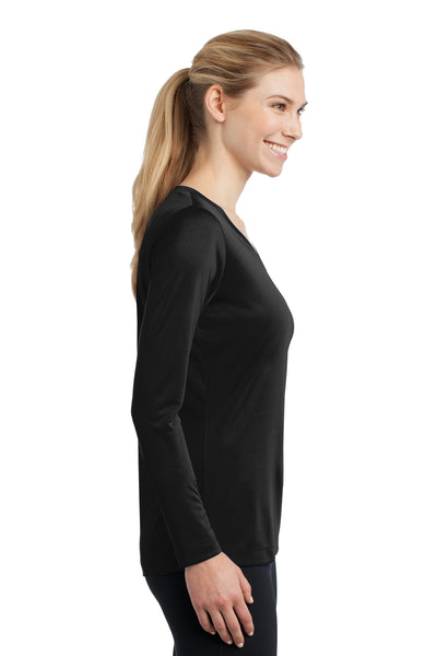 Sport-Tek LST353LS Womens Competitor Moisture Wicking Long Sleeve V-Neck T-Shirt Black Side