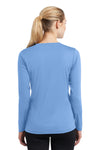 Sport-Tek LST353LS Womens Competitor Moisture Wicking Long Sleeve V-Neck T-Shirt Carolina Blue Back