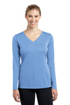 Sport-Tek LST353LS Womens Competitor Moisture Wicking Long Sleeve V-Neck T-Shirt Carolina Blue Front