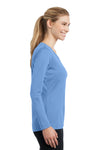 Sport-Tek LST353LS Womens Competitor Moisture Wicking Long Sleeve V-Neck T-Shirt Carolina Blue Side