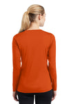 Sport-Tek LST353LS Womens Competitor Moisture Wicking Long Sleeve V-Neck T-Shirt Orange Back