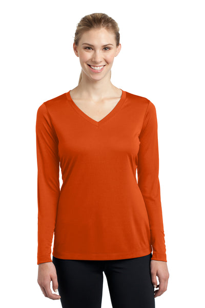 Sport-Tek LST353LS Womens Competitor Moisture Wicking Long Sleeve V-Neck T-Shirt Orange Front