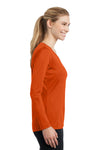 Sport-Tek LST353LS Womens Competitor Moisture Wicking Long Sleeve V-Neck T-Shirt Orange Side