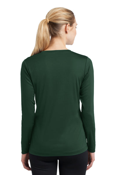 Sport-Tek LST353LS Womens Competitor Moisture Wicking Long Sleeve V-Neck T-Shirt Forest Green Back