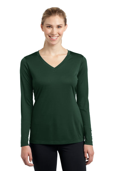 Sport-Tek LST353LS Womens Competitor Moisture Wicking Long Sleeve V-Neck T-Shirt Forest Green Front