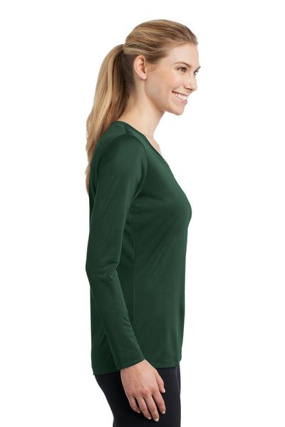 Sport-Tek LST353LS Womens Competitor Moisture Wicking Long Sleeve V-Neck T-Shirt Forest Green Side