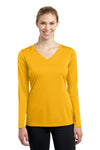 Sport-Tek LST353LS Womens Competitor Moisture Wicking Long Sleeve V-Neck T-Shirt Gold Front