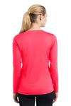 Sport-Tek LST353LS Womens Competitor Moisture Wicking Long Sleeve V-Neck T-Shirt Hot Coral Pink Back
