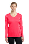 Sport-Tek LST353LS Womens Competitor Moisture Wicking Long Sleeve V-Neck T-Shirt Hot Coral Pink Front