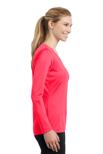 Sport-Tek LST353LS Womens Competitor Moisture Wicking Long Sleeve V-Neck T-Shirt Hot Coral Pink Side