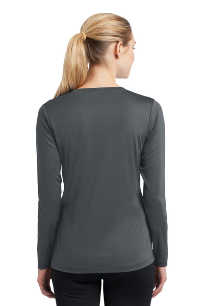 Sport-Tek LST353LS Womens Competitor Moisture Wicking Long Sleeve V-Neck T-Shirt Iron Grey Back