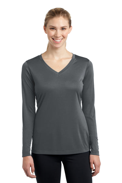 Sport-Tek LST353LS Womens Competitor Moisture Wicking Long Sleeve V-Neck T-Shirt Iron Grey Front