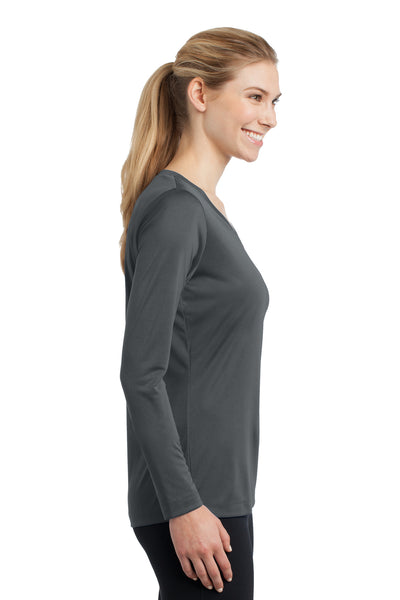 Sport-Tek LST353LS Womens Competitor Moisture Wicking Long Sleeve V-Neck T-Shirt Iron Grey Side