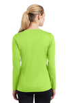 Sport-Tek LST353LS Womens Competitor Moisture Wicking Long Sleeve V-Neck T-Shirt Lime Green Back
