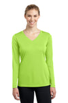 Sport-Tek LST353LS Womens Competitor Moisture Wicking Long Sleeve V-Neck T-Shirt Lime Green Front