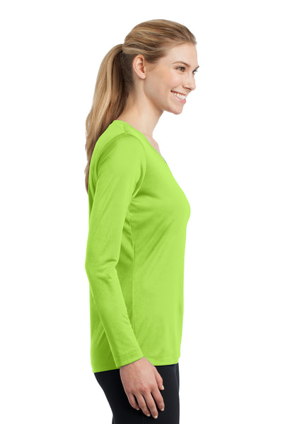 Sport-Tek LST353LS Womens Competitor Moisture Wicking Long Sleeve V-Neck T-Shirt Lime Green Side