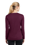 Sport-Tek LST353LS Womens Competitor Moisture Wicking Long Sleeve V-Neck T-Shirt Maroon Back