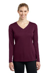 Sport-Tek LST353LS Womens Competitor Moisture Wicking Long Sleeve V-Neck T-Shirt Maroon Front