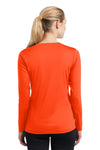 Sport-Tek LST353LS Womens Competitor Moisture Wicking Long Sleeve V-Neck T-Shirt Neon Orange Back