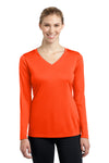 Sport-Tek LST353LS Womens Competitor Moisture Wicking Long Sleeve V-Neck T-Shirt Neon Orange Front