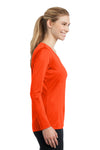 Sport-Tek LST353LS Womens Competitor Moisture Wicking Long Sleeve V-Neck T-Shirt Neon Orange Side