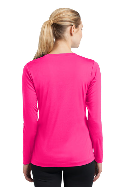 Sport-Tek LST353LS Womens Competitor Moisture Wicking Long Sleeve V-Neck T-Shirt Neon Pink Back