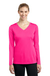 Sport-Tek LST353LS Womens Competitor Moisture Wicking Long Sleeve V-Neck T-Shirt Neon Pink Front