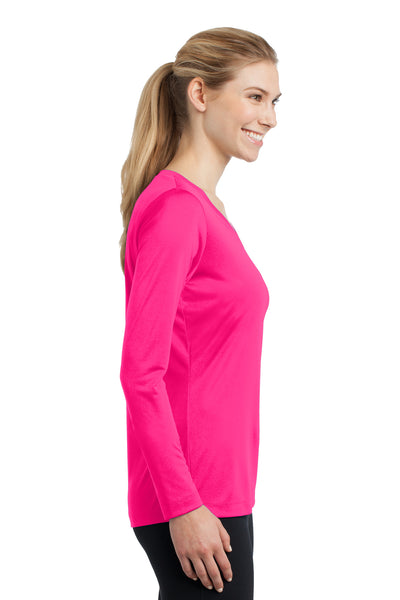 Sport-Tek LST353LS Womens Competitor Moisture Wicking Long Sleeve V-Neck T-Shirt Neon Pink Side