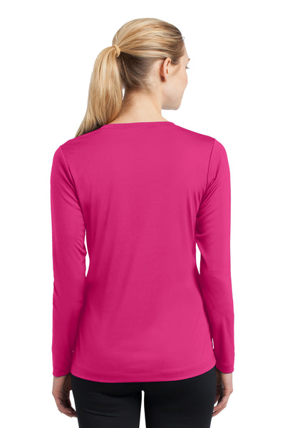 Sport-Tek LST353LS Womens Competitor Moisture Wicking Long Sleeve V-Neck T-Shirt Fuchsia Pink Back
