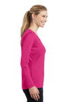 Sport-Tek LST353LS Womens Competitor Moisture Wicking Long Sleeve V-Neck T-Shirt Fuchsia Pink Side