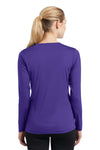 Sport-Tek LST353LS Womens Competitor Moisture Wicking Long Sleeve V-Neck T-Shirt Purple Back