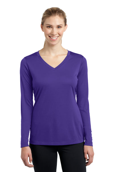Sport-Tek LST353LS Womens Competitor Moisture Wicking Long Sleeve V-Neck T-Shirt Purple Front