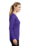 Sport-Tek LST353LS Womens Competitor Moisture Wicking Long Sleeve V-Neck T-Shirt Purple Side