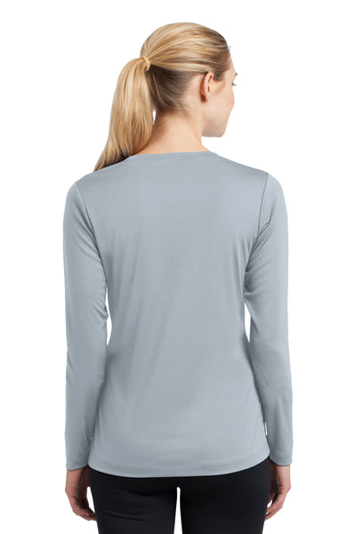 Sport-Tek LST353LS Womens Competitor Moisture Wicking Long Sleeve V-Neck T-Shirt Silver Grey Back