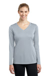 Sport-Tek LST353LS Womens Competitor Moisture Wicking Long Sleeve V-Neck T-Shirt Silver Grey Front