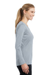 Sport-Tek LST353LS Womens Competitor Moisture Wicking Long Sleeve V-Neck T-Shirt Silver Grey Side