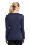 Sport-Tek LST353LS Womens Competitor Moisture Wicking Long Sleeve V-Neck T-Shirt Navy Blue Back
