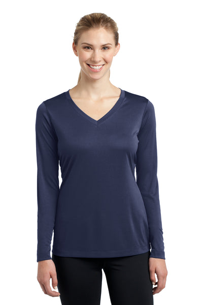 Sport-Tek LST353LS Womens Competitor Moisture Wicking Long Sleeve V-Neck T-Shirt Navy Blue Front