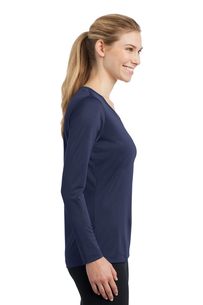 Sport-Tek LST353LS Womens Competitor Moisture Wicking Long Sleeve V-Neck T-Shirt Navy Blue Side